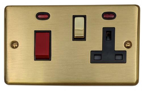G&H CSB329 Standard Plate Satin Brushed Brass 45 Amp DP Cooker Switch & 13A Switched Socket